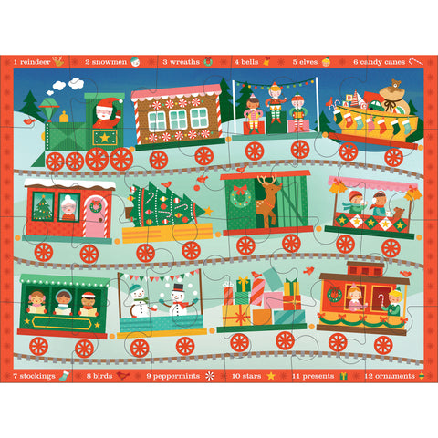 Petit Collage christmas train floor puzzle spot it 2