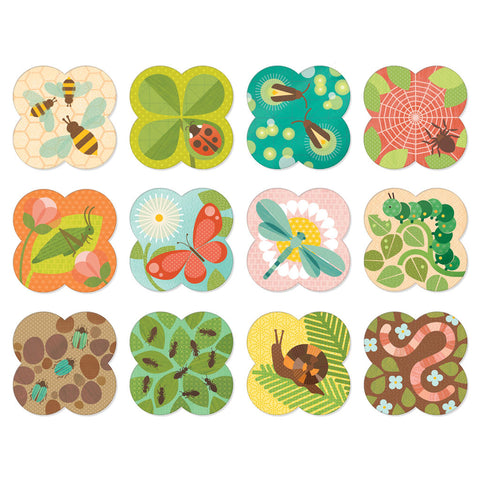 petit collage busy garden bugs matching memory memo game