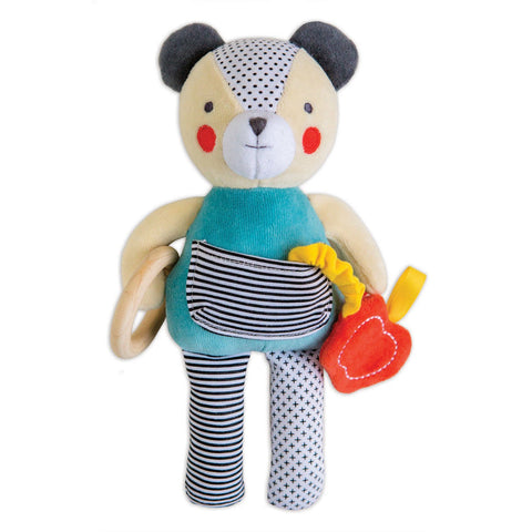 petit collage busy bear organic activity toy