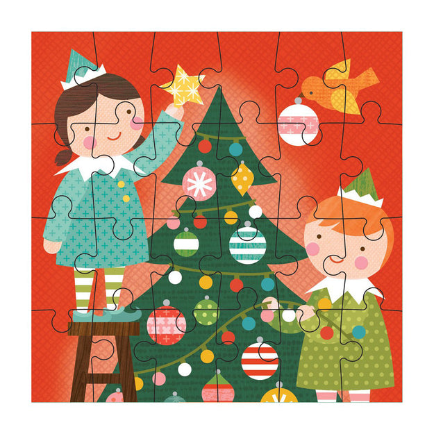 petit puzzle christmas elves 24 pc puzzle