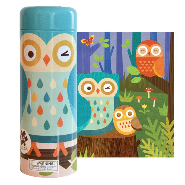 petit collage tin canister puzzle and coin bank forest owls