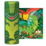 petit collage tin canister puzzle and coin bank dinosaurs