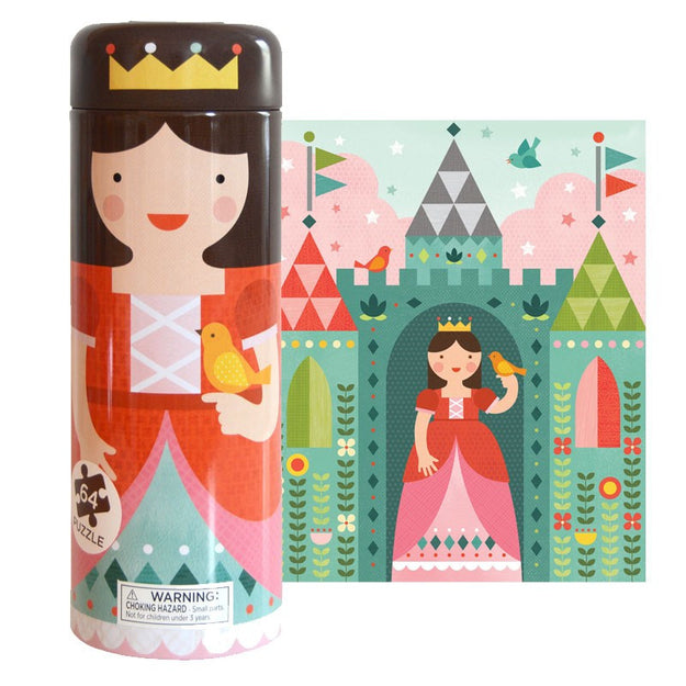 petit collage tin canister puzzle and coin bank folk princess castle