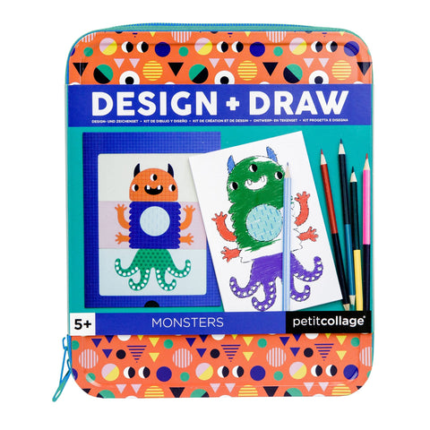 petit collage design and draw monsters set
