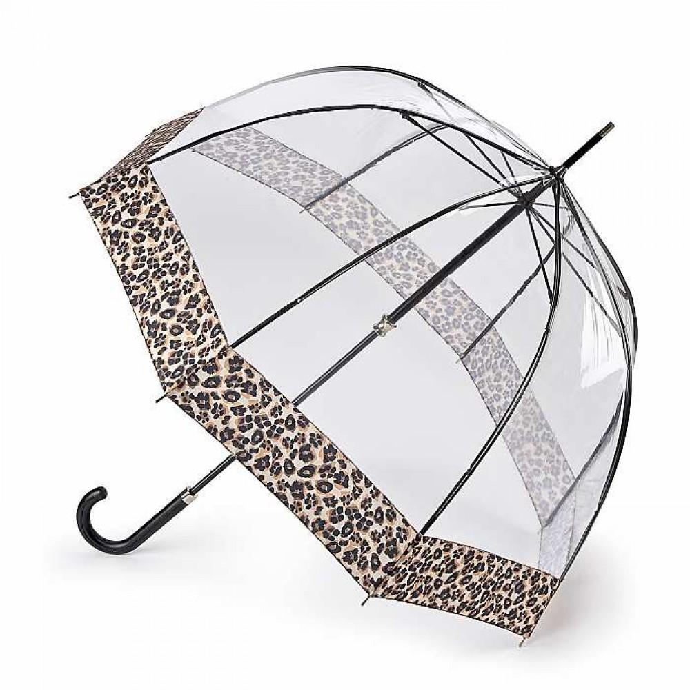 Зонт-трость женский Fulton L866 Birdcage-2 Luxe Natural Leopard (Леопард)
