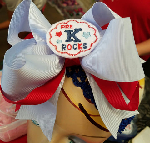 Pre K Rocks Hair Bow Large