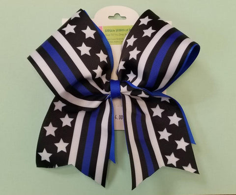 Blue Lives Matter Ribbon Print Cheer Bow