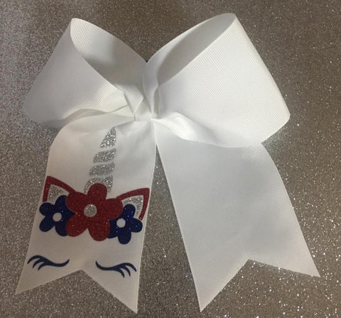 Cheer Bow - 4th of July Unicorn