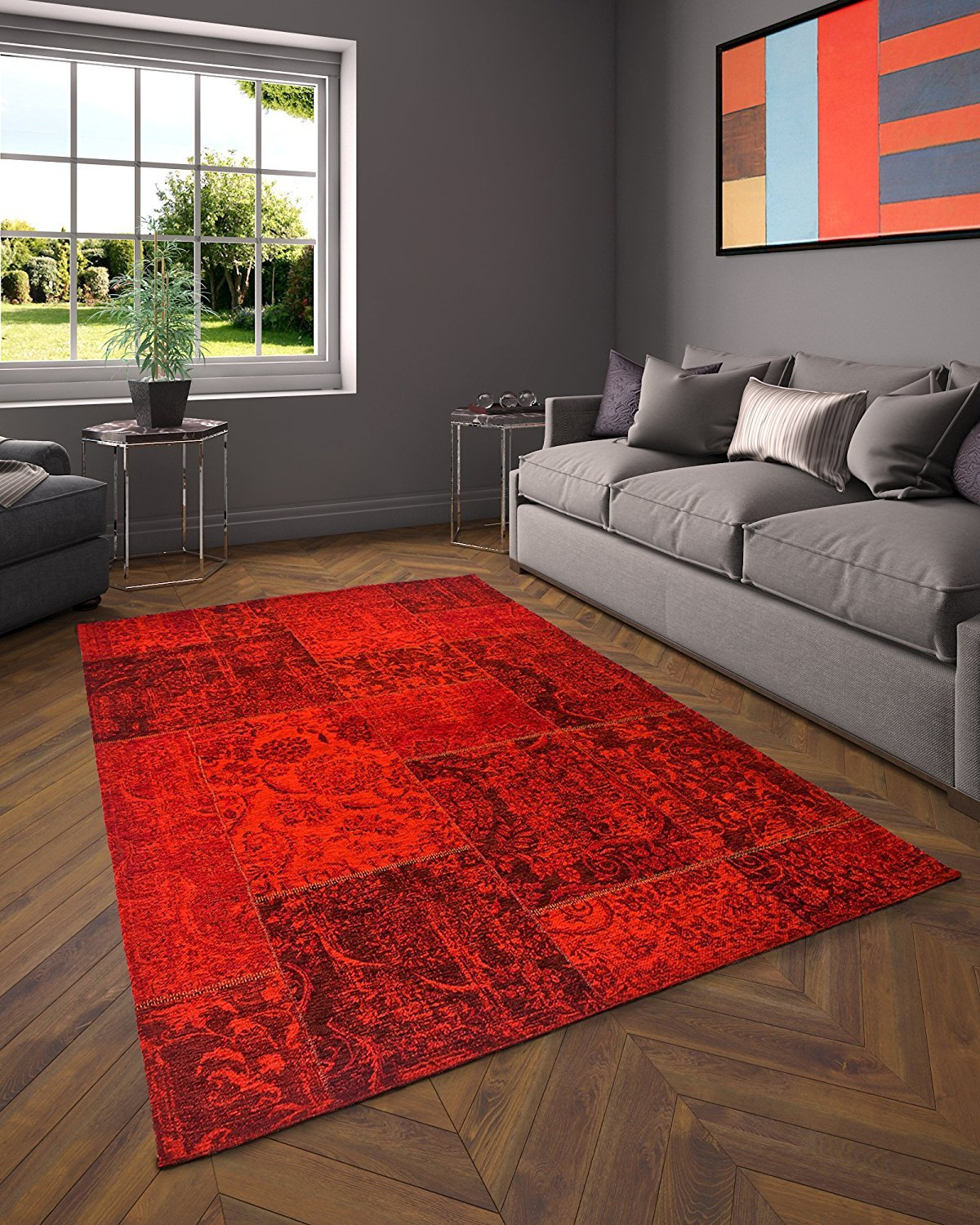 Red Lava Patchwork Tapijt - Omid Carpets