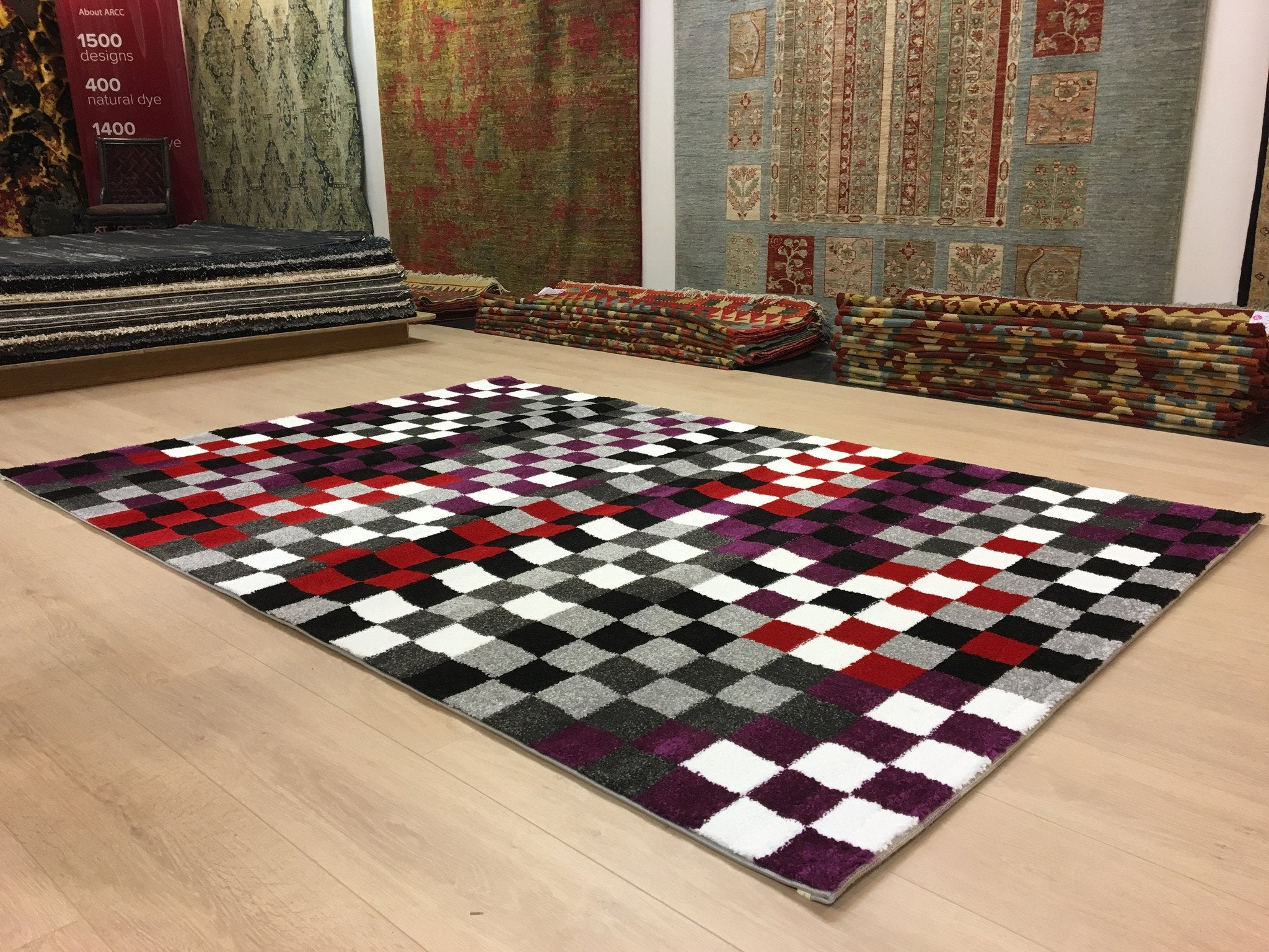 Rood - Paarse Domino Tapijt - Omid Carpets
