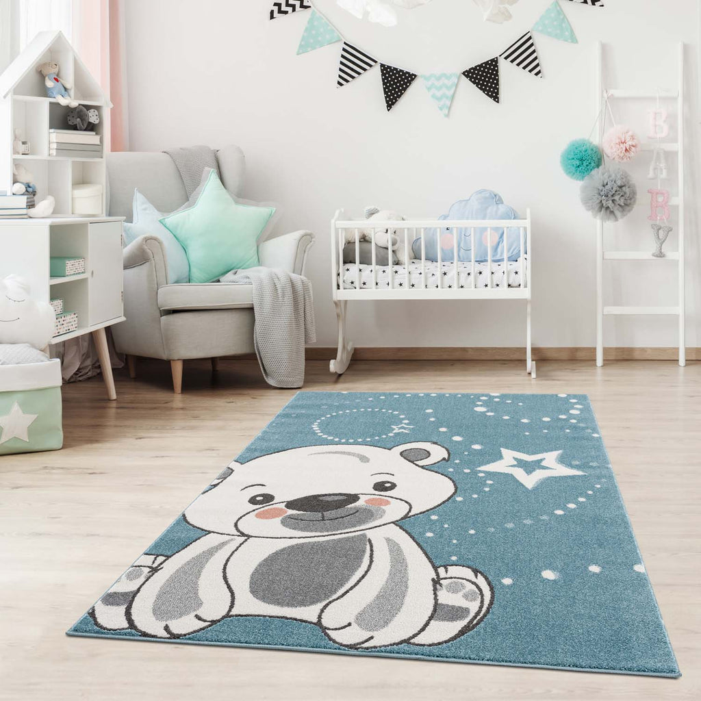 Kindertapijt Omid Little Cute Bear Blauw Vloerkleed