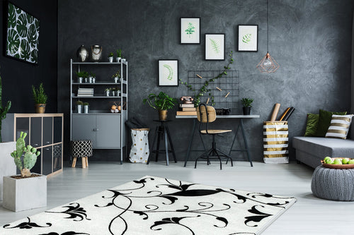 Vloerkleed Obsession Black & White White 390 - Omid Carpets