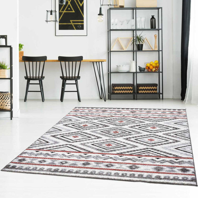 Rood Tapijt Laagpolig Vloerkleed Omid Art - Red Geometry - Omid Carpets