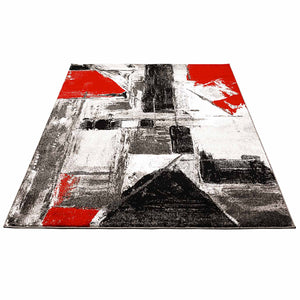 Rood Tapijt Laagpolig Vloerkleed Omid Art - Red Paint - Omid Carpets