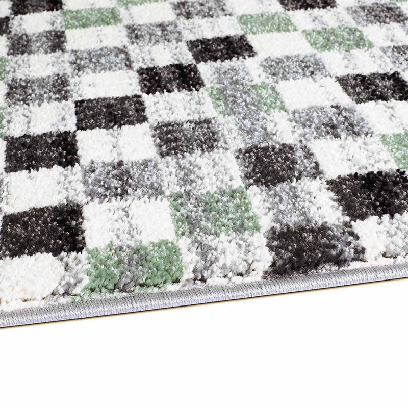 Groen Tapijt Laagpolig Vloerkleed Omid Art - Green Diamond - Omid Carpets