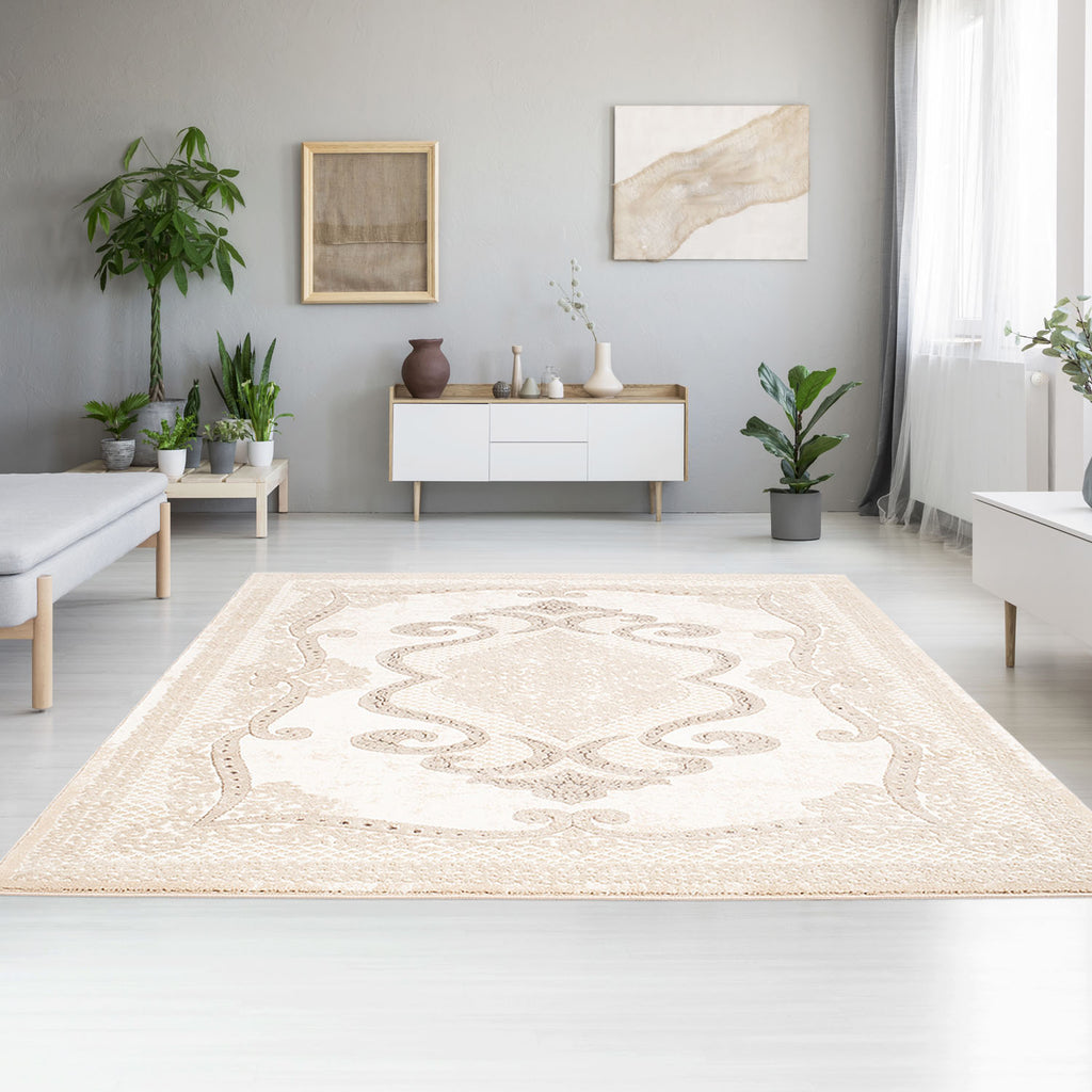 Tapijt Omid Spring Laagpolig Vloerkleed Natural Classic Creme - Omid Carpets