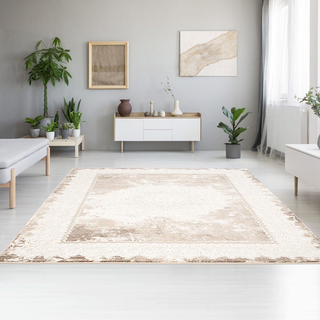 Tapijt Omid Spring Laagpolig Vloerkleed Natural Classic Creme 2 - Omid Carpets