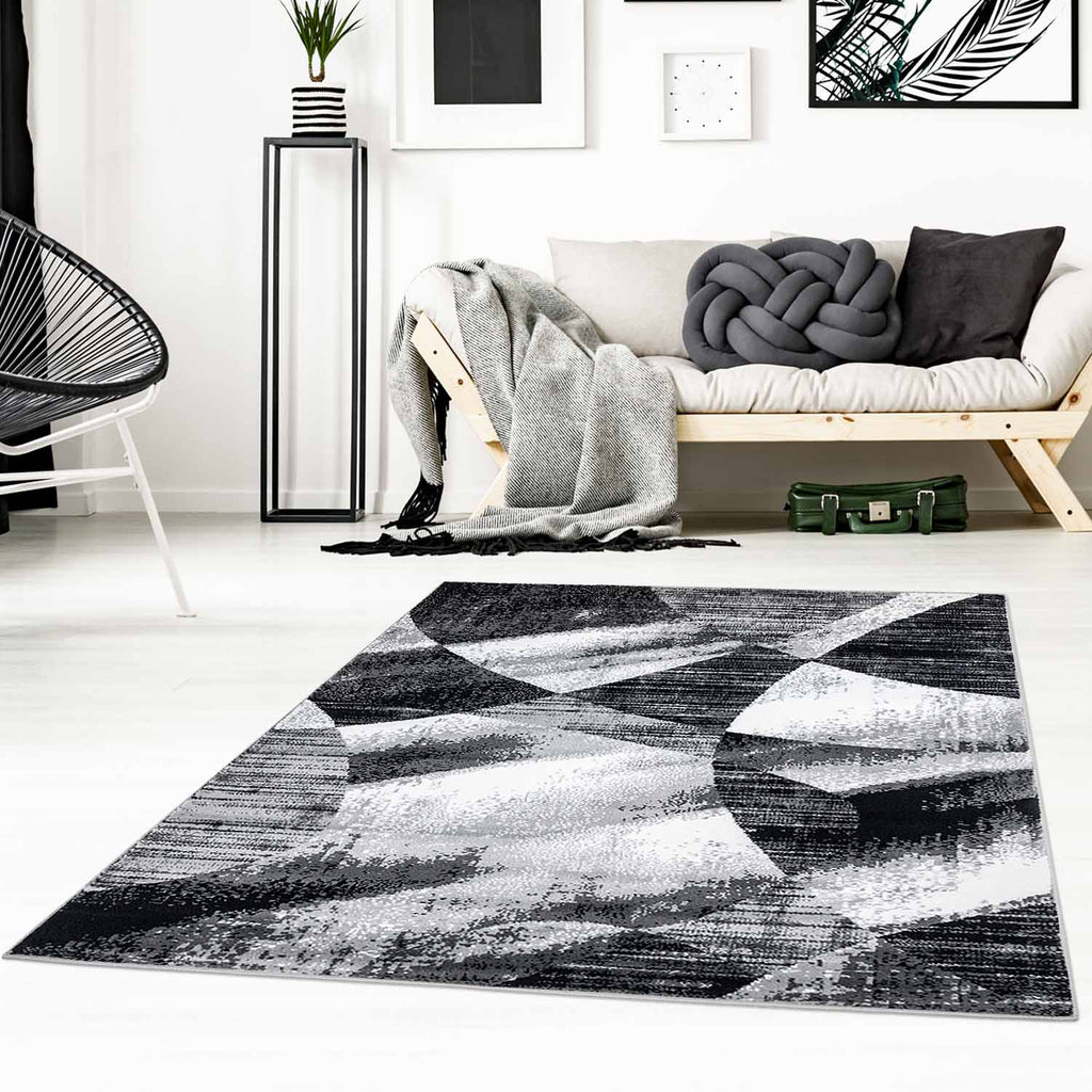 Tapijt Omid Grijstinten Abstract Vloerkleed 1 - Omid Carpets