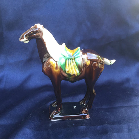 Tri-Color Tang Dynasty Pottery - Horse- Brown