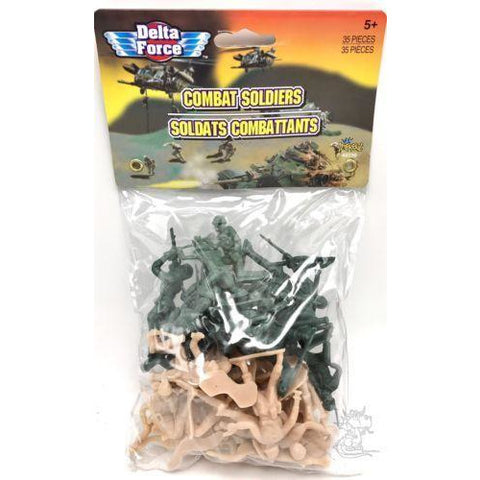 35 pcs Military Toy Army Combat Soldiers Green / Tan Figures