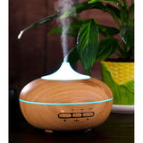 300ml Aroma Essential Oil Diffuser with Microwave Induction Ultrasonic Humidifier,Air Purifier,7 Colors Changing-(Wooden Color)