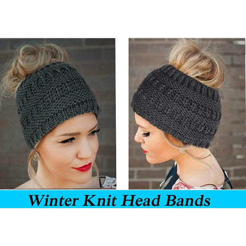 Women Winter Knitted Headbands Warm Crochet Stretch Twist Turban Hair Accessory