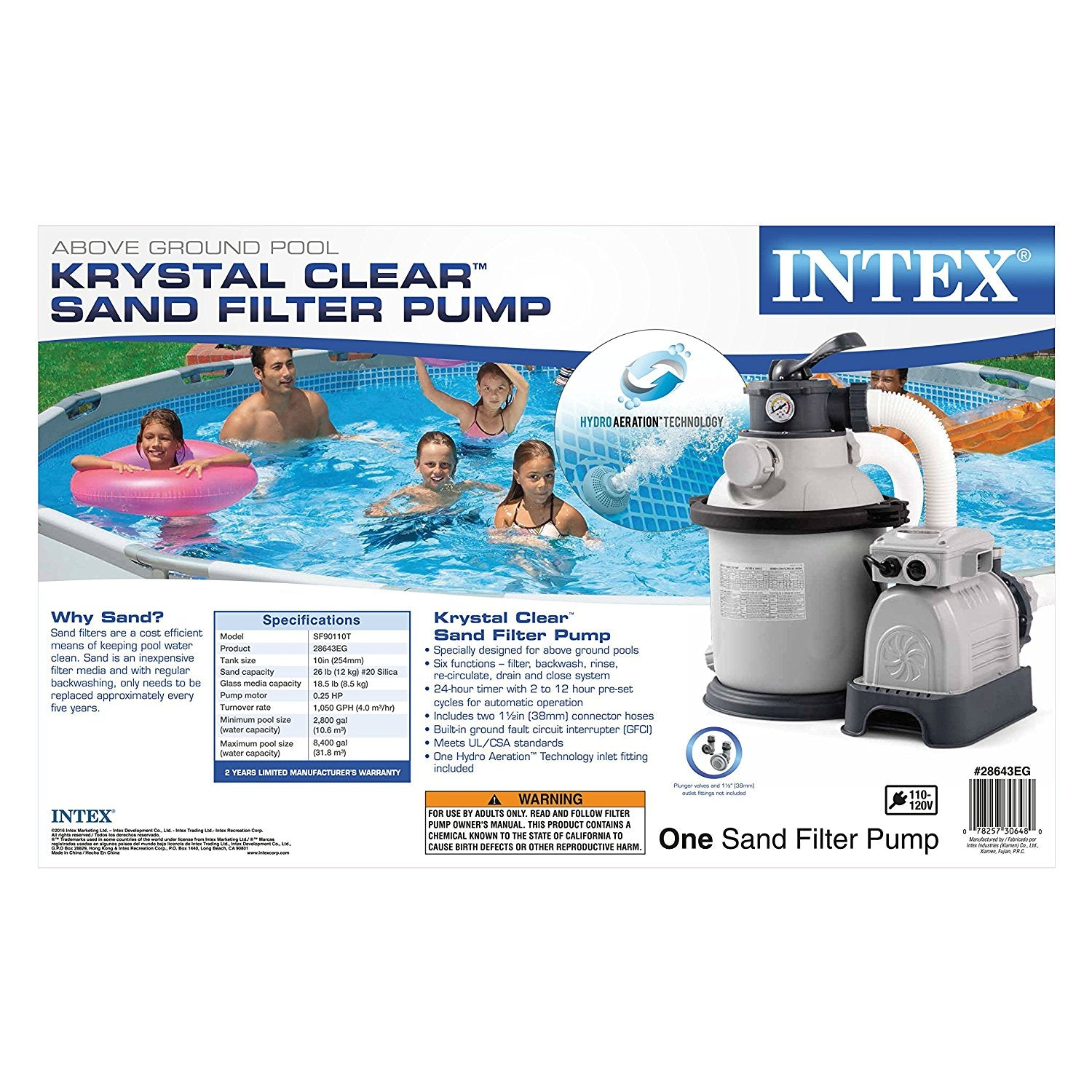 10 Quot Intex Krystal Clear Sand Filter Pump For Above Ground