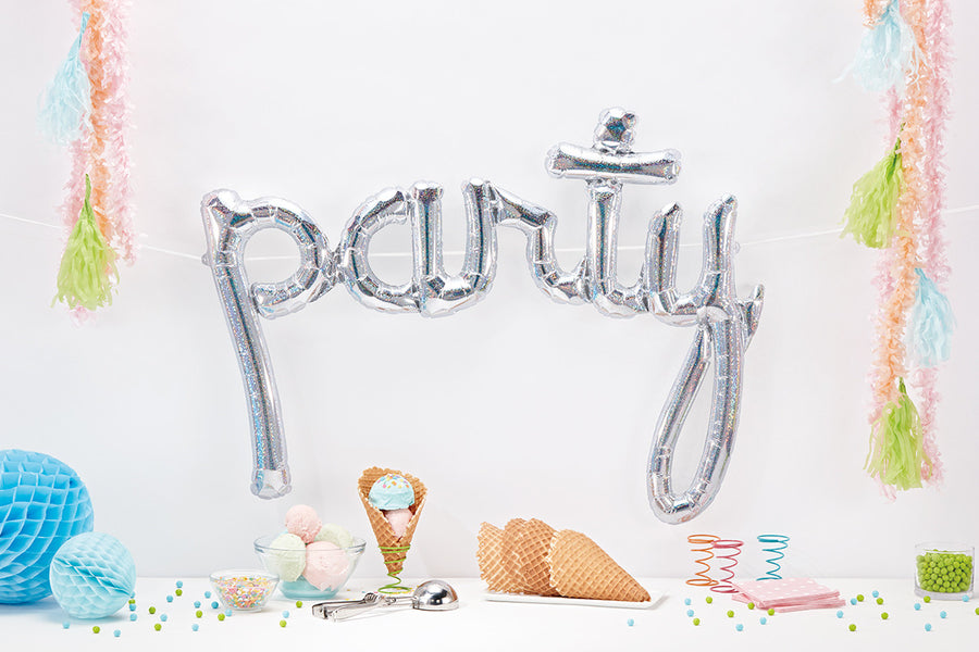 PARTY Holographic Silver Script Balloon