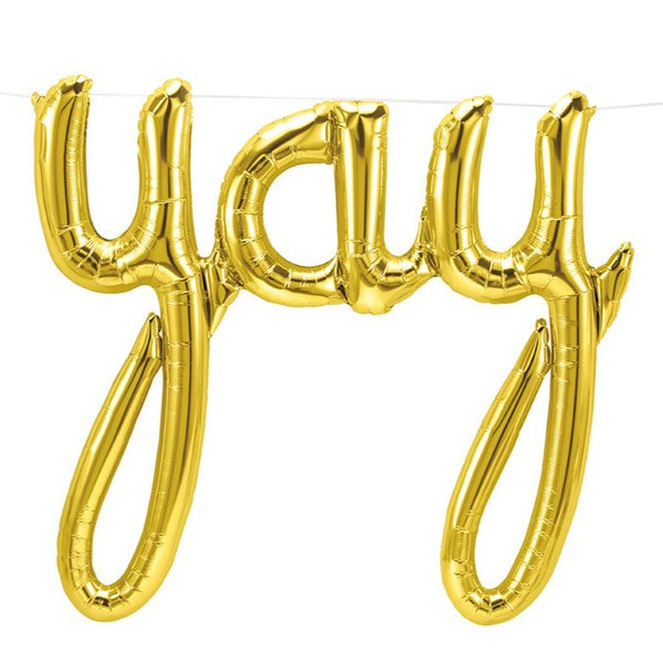 YAY Gold Script Letter Balloon