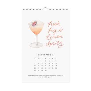 2020 Happy Hour Cocktail Calendar - Watercolor Illustrated