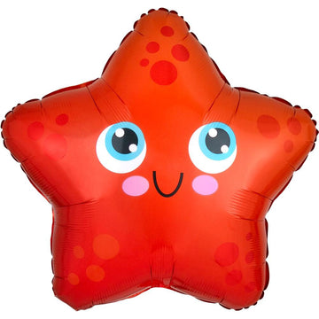 smiling red starfish balloon