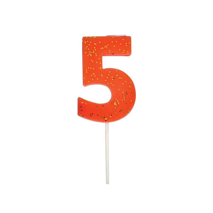Number Candle 5 (Coral)