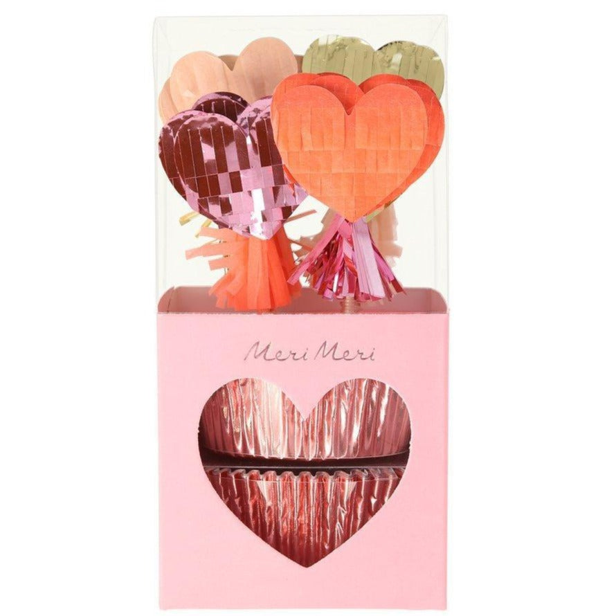 fringed heart cupcake kit