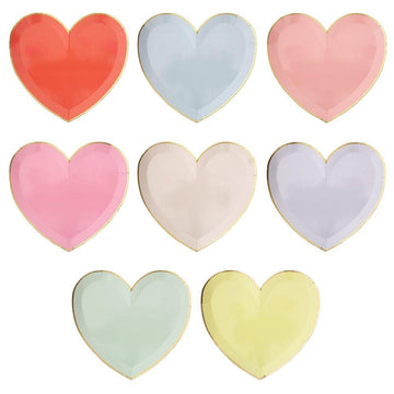 Pastel Heart Shape Plates - Large