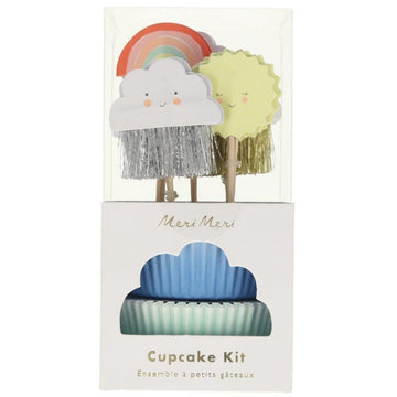 cloud sun rainbow cupcake decoration topper set kit