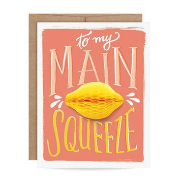 main squeeze honeycomb pop-up lemon greeting card