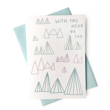 with you near or far stitched greeting card