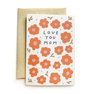 love you mom red floral greeting card
