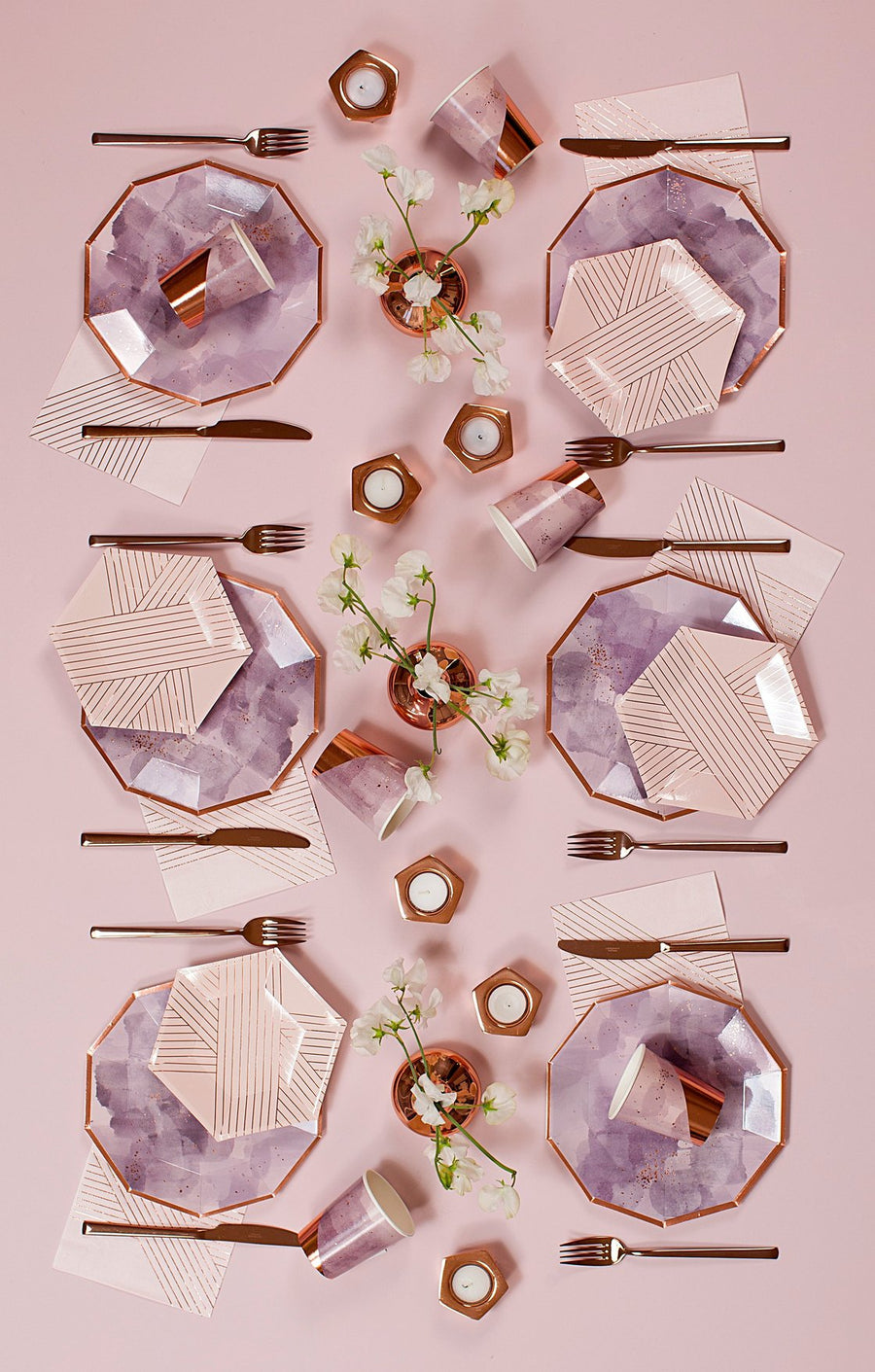 Pale Pink Striped Small Plates