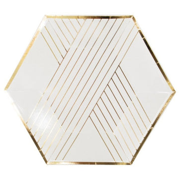 white and gold stripe paper plates