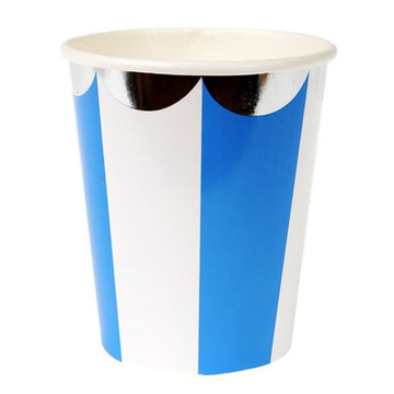 blue white stripe silver scalloped paper cups