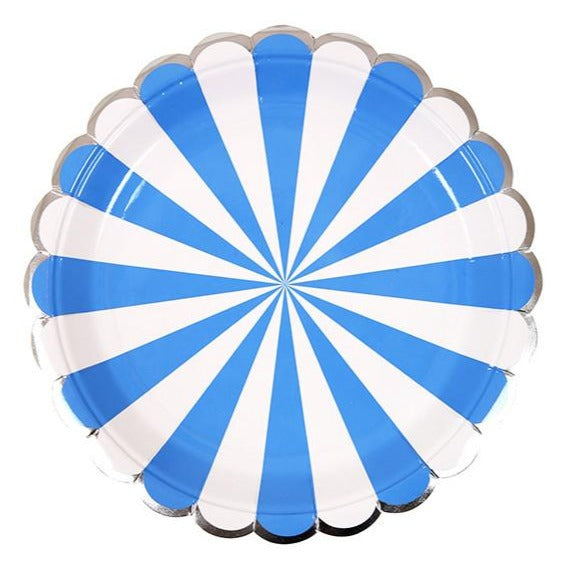 Blue Striped Scallop Plates