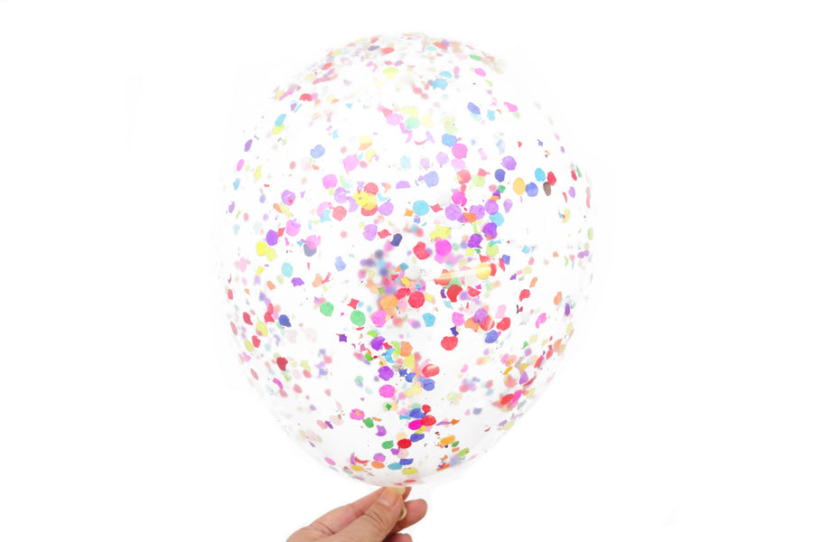 Confetti Balloons - Pack of 6 - Bright Rainbow