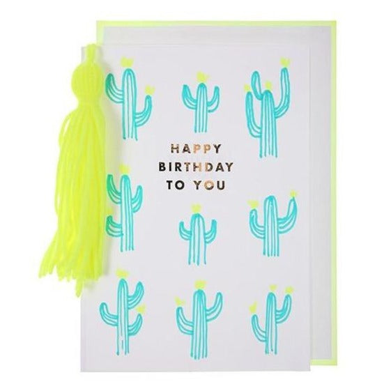 happy birthday neon cactus tassel greeting card