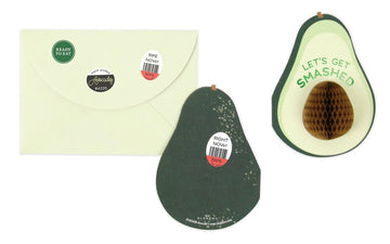 3D honeycomb style pop-up avocado greeting card