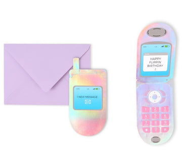 holographic flip phone birthday greeting card