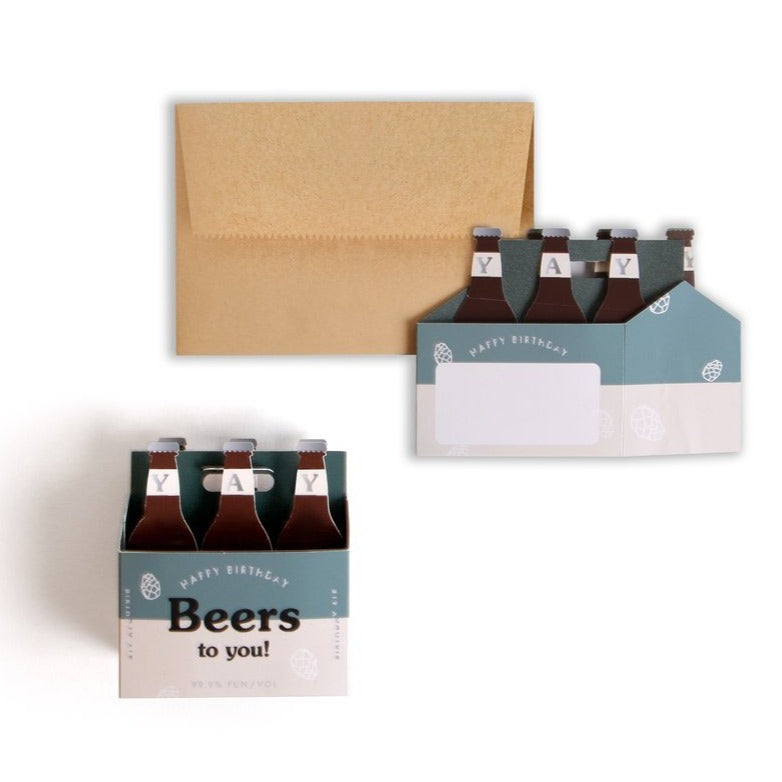 happy birthday beers to you pop up greeting card