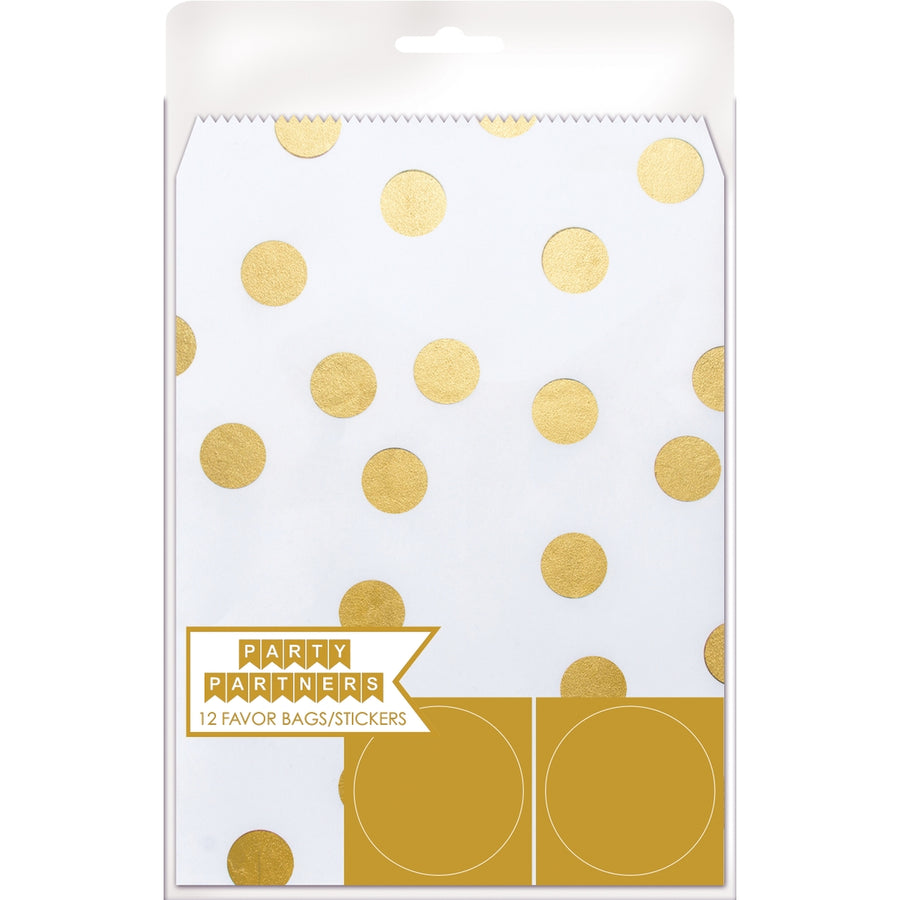 Dots Gold Favor Bags