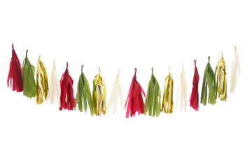 Christmas Tassel Garland - Fireplace