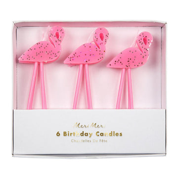Flamingo Glitter Candles